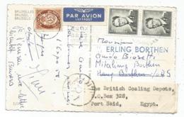BELGIQUE 1FR50X2 CARTE AVION BRUSSEL 1958 POUR NORVEGE NORGE  15 ORE OSLO REEXPEDIEE EN EGYPTE - Covers & Documents