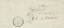 1850- Lettre De JUNIVILLE ( Ardennes )  Cad T15  Taxe 2 D. - Marcofilia (sobres)