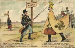 Militaria Satirique Frontière Belge Halte Là ! On N'passe Pas ! RV  Vachet Tresor Et Postes 110 - Patriottiche