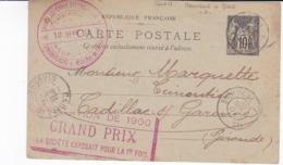 Carte Sage 10 C Noir G11 Oblitérée Ambulant Boulogne à Paris Repiquage Darsy Lefebvre Stenne Lavocat - Enteros Postales
