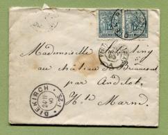 """DIEKIRCH  :  LETTRE De 1890 + Ambulant """" PARIS A EPERNAY """" - 1882 Allégorie"""