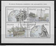 Islande Bloc N° 26 Oblitéré De 2000 Découverte De L'Amérique Par Les Vikings - Blocks & Sheetlets