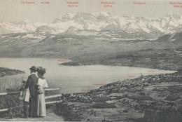 """SCHWEIZ KILCHBERG, RÜESCHLIKON, THALWIL, HORGEN, AU, WÄDENSWIL - Ca. 1910, Ungebr. S/w AK """"Glärnischgruppe Vom Uetliberg - ZH Zurich"""