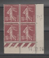 FRANCE / 1924 / Y&T N° 189 ** : Semeuse Camée 15c Brun X 4 - Coin Daté 1929 12 24 - ....-1929