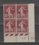 FRANCE / 1924 / Y&T N° 189 ** : Semeuse Camée 15c Brun X 4 - Coin Daté 1930 02 11 - ....-1929