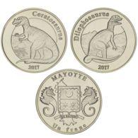 Mayotte. 2 Coins On 1 Franc. Dinosaurs. Dilofozavr And Tseratozavr. UNC. 2017 - Andere - Afrika