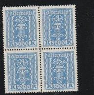 Österreich 1922 Michel Nr. 396 B X4 **, Postfrischer 4-er Block, Michel 240,-€ - 1918-1945 1. Republik