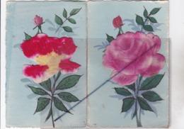 Lot De 2 Cartes Brodées Avec Ajouts (thème Fleur - Rose) - Embroidered