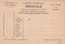Carte Postale Médicale, No 3, Pour éviter La Fièvre Typhoïde, Pour éviter Le Charbon, 2 Scans - Guerre 1914-18