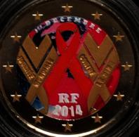 FRANCE 2014 - SIDA  - 2 EUROS COMMEMORATIVE RARE COULEUR  - FARBE - COLORED - COLOR - France