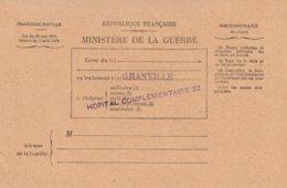 Ministère De La Guerre - Bulletin De Santé D'un Militaire En Traitement à Granville. Hôpital Complémentaire 22 (2 Scans) - Guerre 1914-18
