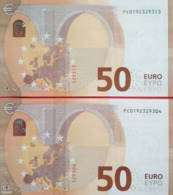 Paar Correlativ  50 EUROS HOLANDA(PC) P009, DRAGHI, Nummer Low, UNCIRCULATED - EURO