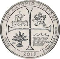 USA 25 Cents (quarter) 2019 D UNC 49th Park - San Antonio Missionions National Historic Park - Bondsuitgaven