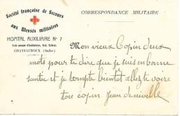 36-cachet Hôpital Aux. N°7 De Chateauroux Imprimé Sur CP Humoristique De La Guerre 14/18 - Marcophilie (Lettres)