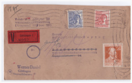 GM (000743) MNR 956, 957 Und 963 Auf Wertbrief Von Göttingen Nach Braunschweig, Gelaufen Am 28.2.1948 - Zone AAS