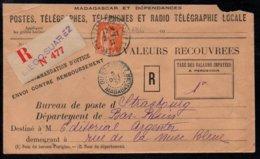 DIEGO SUAREZ - MADAGASCAR - TYPE PAIX / 1937 RECOMMANDE VALEURS A RECOUVRER POUR STRASBOURG (ref 4129) - Lettres & Documents