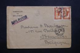 MAROC - Enveloppe Du Consulat De Belgique De Casablanca Pour Bruxelles Par Avion, Affranchissement Plaisant - L 42907 - Marokko (1891-1956)