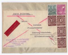 GM (000747) MNR 918 4x, 949 Und 954 Auf Eilboten Ortsbrief Hamburg, Gelaufen Am 7.12.1947 - Amerikaanse, Britse-en Russische Zone