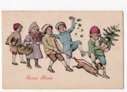 1751 - Ph5 - BONNE ANNEE - Groupe D'enfants - Chien Teckel  *style Vienne - R.F.W.S. 264* - Anno Nuovo