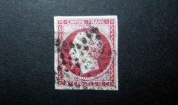 FRANCE 1860 N°17B OBL. ÉTOILE MUETTE (NAPOLÉON III. SECOND EMPIRE. 80C ROSE. LÉGENDE EMPIRE FRANC. NON DENTELÉ) - 1853-1860 Napoleone III