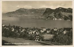 """SCHWEIZ HERGISWILL 1920, Ungebr. S/w RP AK """"Hergiswil Mit Bürgenstock Und Rigi."""" (Globetrotter A.G., Luzern - Nr. 5409) - NW Nidwald"""