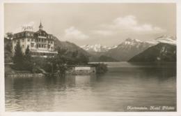 """SCHWEIZ HERTENSTEIN (Gemeinde Weggis), Ca. 1920, Ungebr. S/w RP AK """"Hertenstein. Hotel Pilatus."""" (Kunstverlag E. Goetz, - LU Lucerne"""