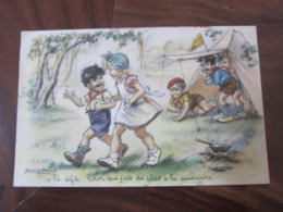 Carte Postale Illustrateur Germaine Bouret Camping - Bouret, Germaine