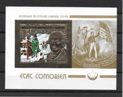 Comores Bloc Timbre Or Non Dentelé Imperf Washington ** - Us Independence