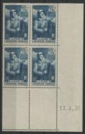 """N° 387. Coin Daté Du 13/4/38 / Bloc De Quatre """"A La Gloire De L'Infanterie"""". - Dated Corners"""