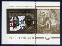 Comores Bloc Timbre Or Washington ** - Us Independence