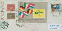 """EUROPA CEPT 1963-MOSTRA FRANCOBOLLO """"EUROPA"""" NAPOLI,SAN MARINO,ANNULLI SPECIALI DEDICATI,VIAGGIATA BOLOGNA, - Europa-CEPT"""