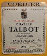 11759 - Château Talbot 1978 Saint-Julien - Bordeaux