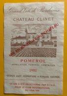 11763 - Château Clinet 1981 Pomerol - Bordeaux