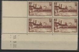 """N° 391. Cote 165 €. Coin Daté Du 19/9/38 / Bloc De Quatre """"Avignon, Le Palais Des Papes"""". - Dated Corners"""