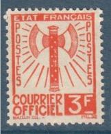 094- Timbre De Service - YT N°10 - 3f. Orange - 1943 - Service
