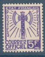 095- Timbre De Service - YT N°12 - 5f. Violet - 1943 - Service