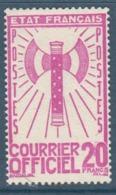 097- Timbre De Service - YT N°15 - 20f. Lilas-rose - 1943 - Service