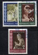APR2131 - HAITI 1959 , Serie Yvert N. 410/412  Usata Con Gomma (2380A) Pio XII - Haiti