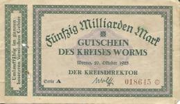 ALLEMAGNE FUNFZIG MILLIARDEN MARK GUTSCHEIN DESS KREISES WORMS - [ 3] 1918-1933 : Weimar Republic