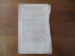 BULLETIN DES LOIS DU 12 MAI 1806 NAPOLEON LOI CONTENANT DES DISPOSITIONS PENALES RELATIVES AUX MENACES D'INCENDIE,COLLEG - Decrees & Laws