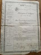 """Passeport D'Indigent: """"Empire Français """" Biffé Devenu """"République..."""" De Paris à  Vezelise  1871 - Historische Dokumente"""