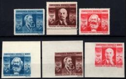 Romania 1945 - MARX, LENIN & ENGELS. The Promoters - Idealists Of Communism. Mi. 861-863 & 864 - 867 U. MNH. - 1918-1948 Ferdinand, Carol II. & Mihai I.