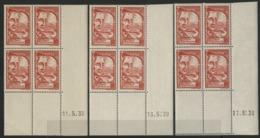 """N° 442 (x12) ** (MNH). Cote 15 €. Trois Coins Datés Différents Du 11, 16 Et 17/5/39 / """"Grégoire De Tours"""" - Hoekdatums"""