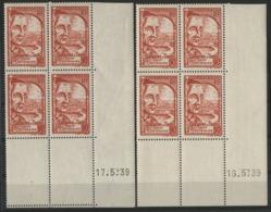 """N° 442 (x8) ** (MNH). Cote 15 €. Deux Coins Datés Différents Du 16 Et 17/5/39 / """"Grégoire De Tours"""" - Hoekdatums"""