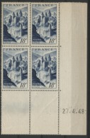"""N° 805 ** (MNH). Cote 25 €. Coin Daté Du 27/4/48 / """"Abbaye De Conques"""" - Ecken (Datum)"""