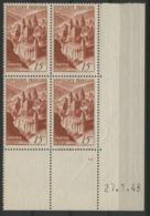 """N° 792 ** (MNH). Cote 25 €. Coin Daté Du 27/1/48 / """"Abbaye De Conques"""" - Ecken (Datum)"""