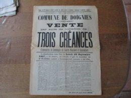 DOIGNIES NORD LE 26 SEPTEMBRE 1927 VENTE PAR SUITE DE LICITATION DE TROIS CREANCES D'INDEMNITE DE DOMMAGES DE GUERRE MOB - Affiches
