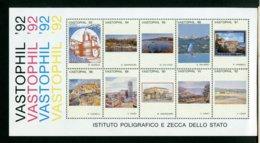 ITALIA - ISTITUTO POLIGRAFICO E ZECCA DELLO STATO - VASTOPHIL '92 - 6. 1946-.. Republic