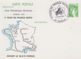 Carte  Entier  Postal   Repiqué   FRANCE    7éme  TOUR  DE  FRANCE   MOTOCYCLISTE      EVREUX   1979 - Moto