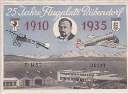 25 Jahre Flugplatz Dübendorf - Jubiläumskarte 1935          (91002) - Aeródromos